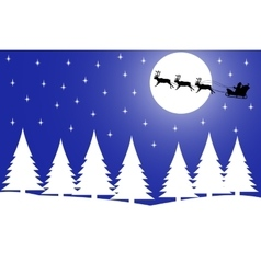 Christmas night in the winter forest vector