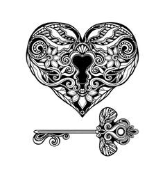 Decorative Key And Lock vector image