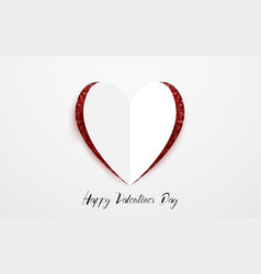 happy valentines day white paper heart style vector image