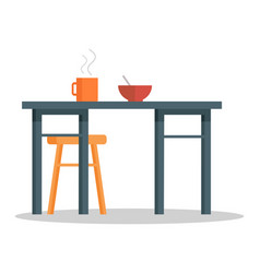 office table with hot coffee cup and bowl of soup vector image