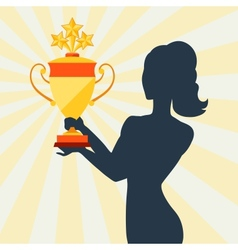 Silhouette of girl holding prize cup vector image vector image