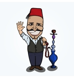 Turkish man with hookah waving hand vector image vector image