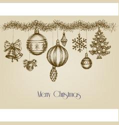 vintage christmas ornaments hand drawn garland vector image vector image