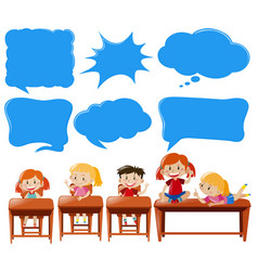 speech bubble template with kids in classroom vector image