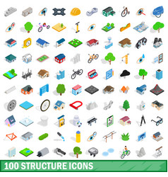 100 structure icons set isometric 3d style vector image