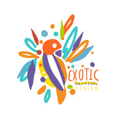 exotic logo original design with colorful bird vector image vector image