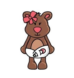 Girl bear wearing diapers vector image