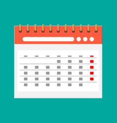 paper spiral wall calendar calendar flat icon vector image