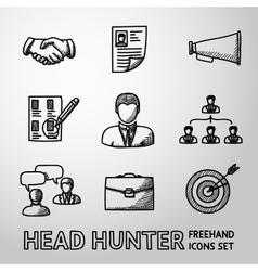 Set of handdrawn Head Hunter icons - handshake vector image vector image