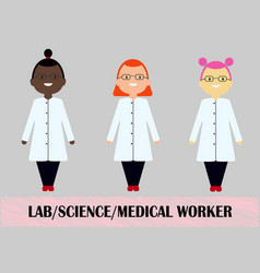 woman scientist medical worker flat design vector image