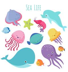cute baby sea fishes cartoon underwater vector image vector image