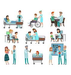 doctors patients characters set vector image vector image