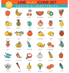 Fruits and vegetables flat line icon set vector image