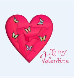 heart and butterflies vector image vector image