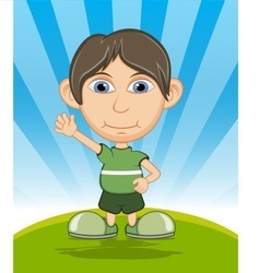 The boy smiling and waving his hand cartoon vector image vector image