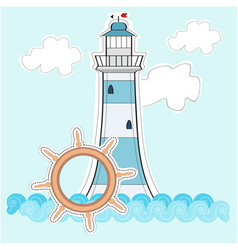 a light house on a blue background vector image
