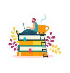 A young man is studying working resting at home vector