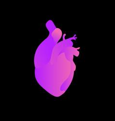 Anatomical heart bright neon gradient on a dark vector