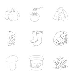 Autumn icons set outline style vector