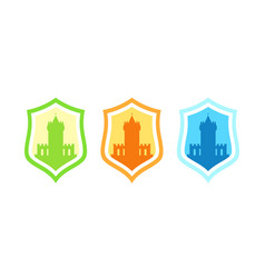 badges with medieval stronghold castles vector image