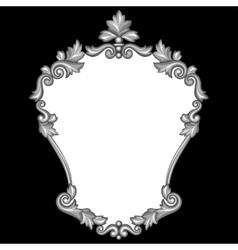 Baroque ornamental antique silver frame on black vector