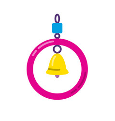 Bird ring with bell toy in flat style vector