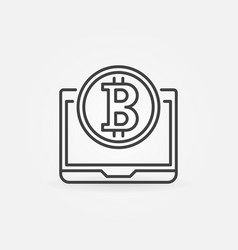 bitcoin coin with laptop outline icon or vector image