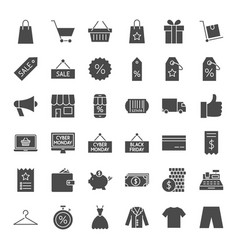 black friday solid web icons vector image