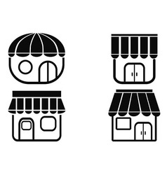 Black store icons vector