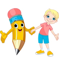 Boy and pencil vector image