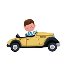 Boy driver classic car elegant vector