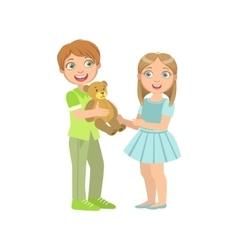 Boy presenting a teddy bear to girl vector