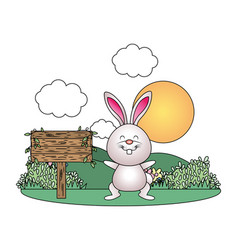 Bunny with wooden sign vector