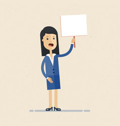 business woman holding tablet with text in hand vector image