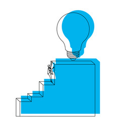 businessman climbing stair block structure with vector image