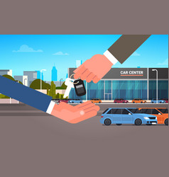 Car purchase sale or rental concept seller man vector