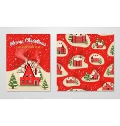 Christmas and New Year greeting set vector image