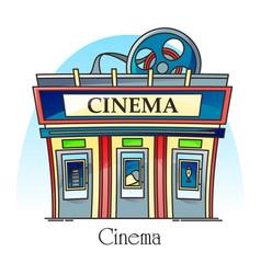 cinema building in thin line exterior view facade vector image