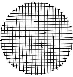 Circular liquid black stripe grid pattern on white vector
