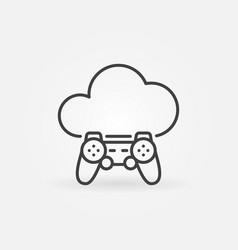 Cloud with gamepad thin line concept icon vector