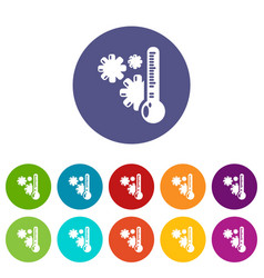 cold icons set color vector image