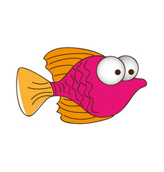 Color silhouette of small fish with big eyes vector