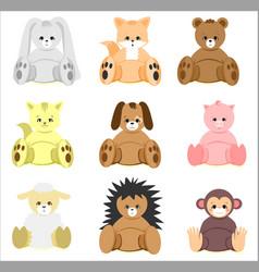 Colorful bashower animal toys set vector