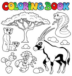 Coloring book savannah animals 1 vector