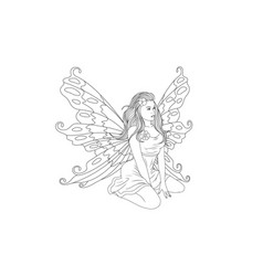 coloring cute fairy vector image
