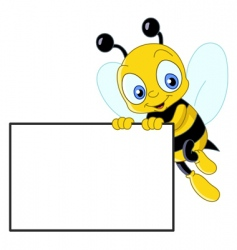 cute bee with sign vector image