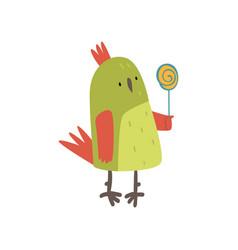cute bird with lollipop funny birdie cartoon vector image