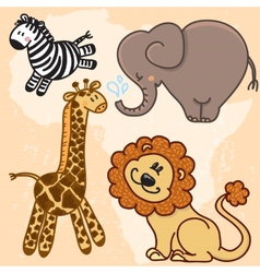 Cute cartoon Baby African Animals set vector image