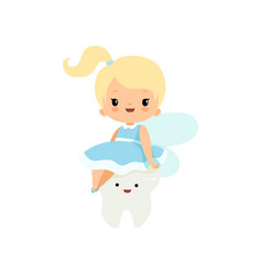 cute little tooth fairy sitting on batooth vector image