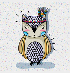 Cute owl animal with feathers design vector